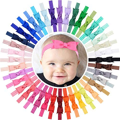 WillingTee 40 Colors 3 Grosgrain Ribbon Hair Bows Baby Girls Headbands for Baby Girls Infants product image