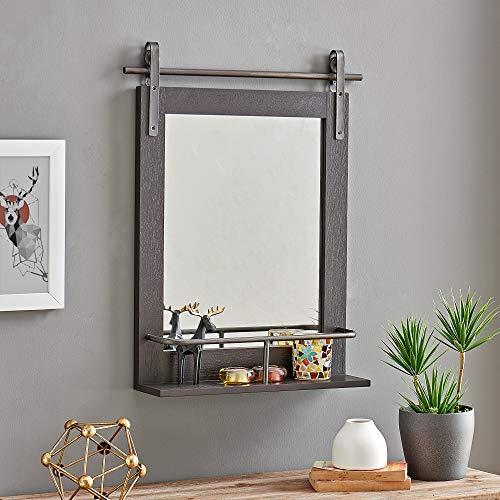 FirsTime & Co. Espresso Ingram Farmhouse Barn Door Mirror with Shelf, American Designed, Espresso, 20 x 5 x 25 inches
