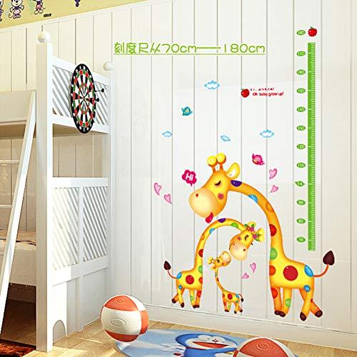 WYNYX Animal de bande dessinée girafe famille mesure de la croissance croissance jusqu'à autocollant mural pour bébé enfants pépinière décor de chambre décalcomanies