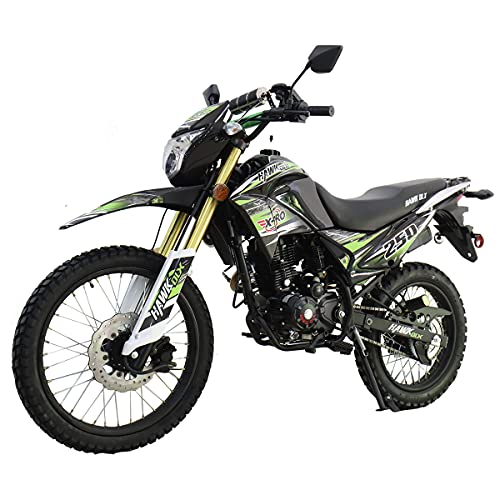 X-Pro Hawk DLX 250 EFI Fuel Injection 250cc Endure Dirt Bike Motorcycle Bike Hawk Deluxe Dirt Bike Street Bike Motorcycle with Bluetooth Speaker(Green)