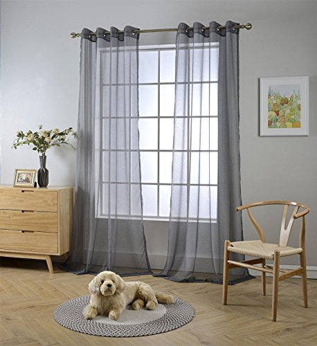 """MIUCO 2 Panels Grommet Textured Solid Sheer Curtains 84 Inches Long for Bedroom (2 x 54 Wide x 84"""" Long) Charcoal Grey"""