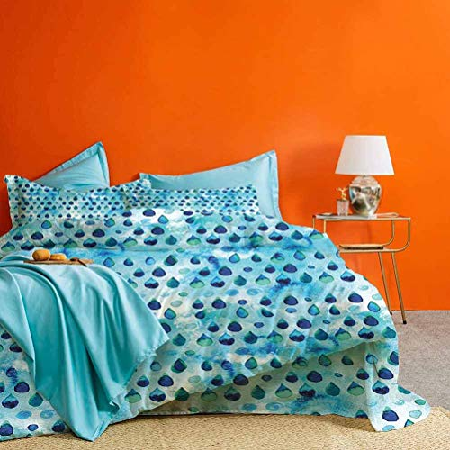 Navy and Teal Duvet Cover Bedding Sets Abstract Blue Watercolor Drops Aquarelle Art Rain Teardrop Quirky Best Hotel Luxury Bedding Turquoise Navy Blue 3pcs (1 Duvet Cover and 2 Pillowcases) Queen