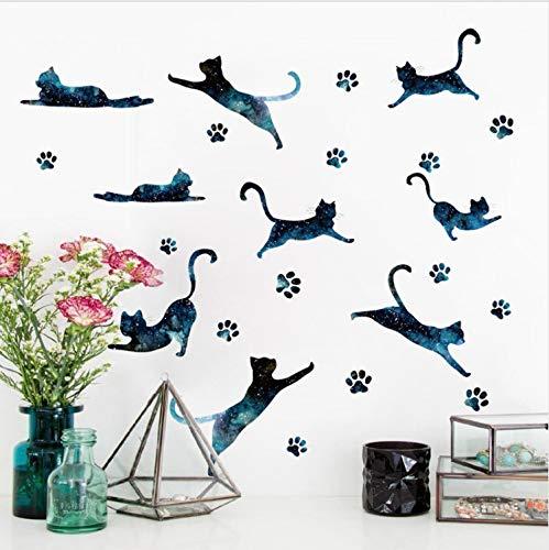baiyinlongshop Kreative Wandaufkleber Sternenhimmel Footprint Katze S Kinderzimmer Wohnzimmer Kleiderschrank Dekoration Abnehmbare Selbstklebende S