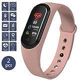 45 Fitness Tracker - Reloj de pulsera para hombre y mujer, resistente al agua, rosa