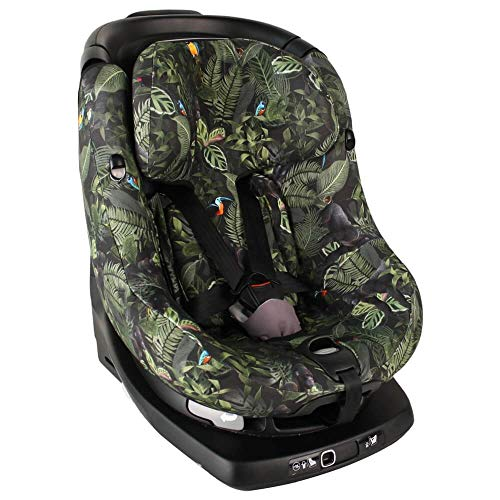 Bezug Maxi-Cosi AxissFIX Kindersitz Grün Dschungel Schweißabsorbierend und weich für Ihr Kind Schützt vor Verschleiß und Abnutzung Öko-Tex 100 Baumwolle