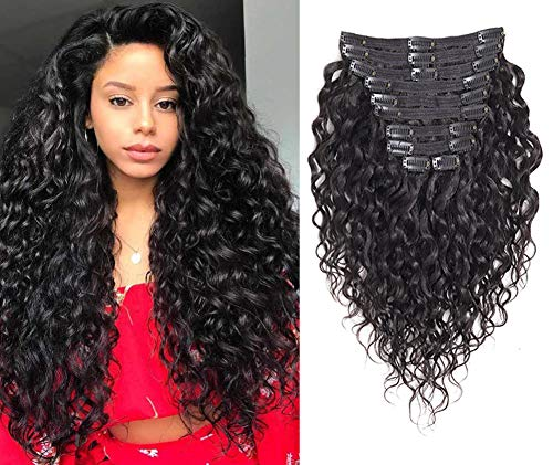 Rolisy Natural Curly Clip in Human Hair Extensions,Real Soft Thick 8A Human Hair for Women,Natural Wave Hair Extensions Clip Ins,Natural Black Color,10Pcs,120 Gram,16 Inch