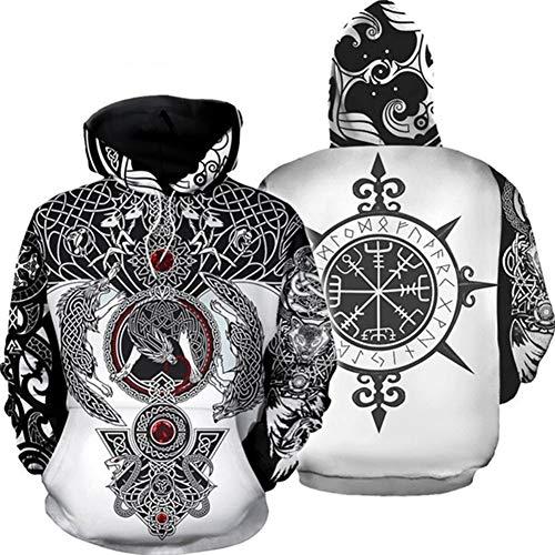YANGFJcor Hombres 3D Print Viking Tattoo primavera Sudadera con capucha con bolsillos Unisex Manga larga Casual Disfraz suelto Mujeres adultas Pullover Mitologa nrdica Sudadera retro,Blanco,4XL