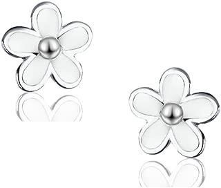 SLUYNZ 925 Sterling Silver Little Daisy Studs Earrings for Teen Girls Petite Flowers Earrings