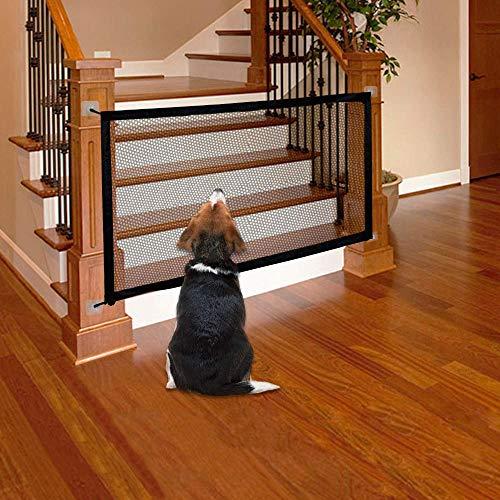 LAOSHIZI Gateras para Perros Barrera de Seguridad portátil Plegable para Cocina, Escaleras, Balcón Negro