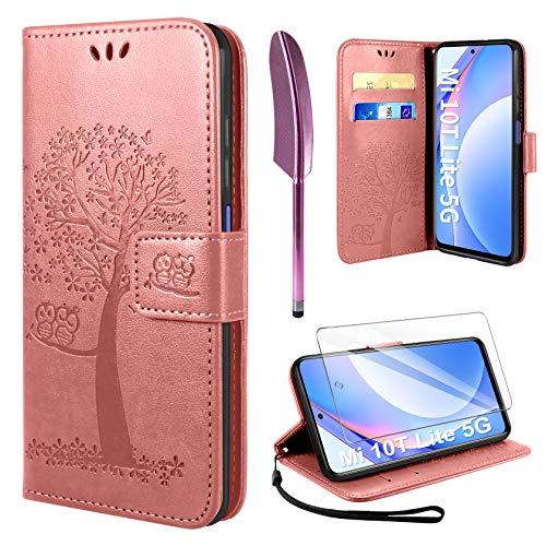 AROYI Funda Compatible con Xiaomi Mi 10T Lite 5G, Mi 10T Lite 5G Soporte Plegable Tapa Flip de PU...