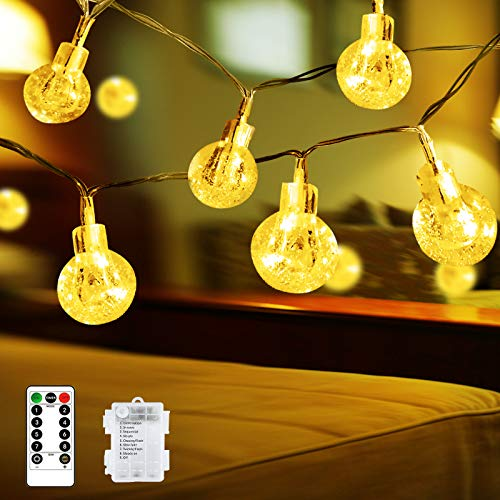 Globe String Lights Battery Operated Fairy Lights 32ft 100 LED Crystal Ball String Lights 8 Modes Remote Waterproof Decoration Lights Indoor Hanging Lights for Bedroom Xmas Wedding Party Garden, Warm