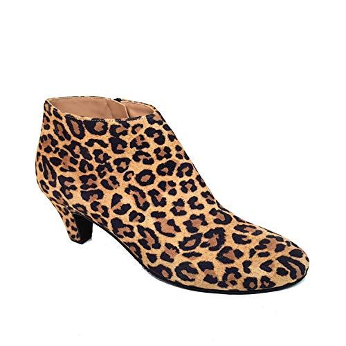 ELIPE - Botines de Piel para Mujer con Punta Redonda y Tacon Bajo 5 cm - Altura Caña 10 - Cierre Cremallera - Forro Piel - Moda Tacones Elegantes - Leopardo Ante Animal Print - Marrón 36 EU