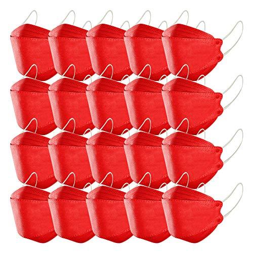 Erwachsene Gesichts_Maske, TJCJIEM Rot Schutz_Maske, 4-Lagen-Vliesstoff 3D-Fischform Struktur Gesichts_Bedeckung Design, Schutz_Maske mit Gefilterter, Atmungsaktiv Einweg_Maske Für Damen Herren