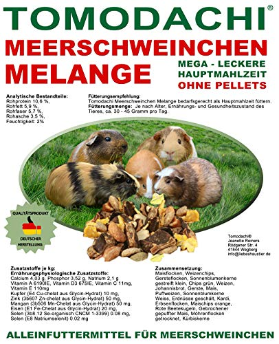 Meerschweinchenfutter pelletfrei, Hauptmahlzeit, Naturprodukt, viel Gemüse, Möhrenflocken, Erbsenflocken, Getreide, Nüsse, Kerne, Kräuter, Alleinfuttermittel Meerschwein, beliebt und lecker 15kg Sack
