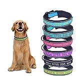 Gredstar Reflektierende Hundehalsband Für mittelgroße,große Hunde Personalisierte Halsbänder mit Name Telefonnummer Bestickt