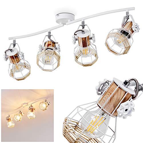 Lámpara de techo Barbacena, lámpara de techo de metal/madera/rafia en color blanco/marrón,...