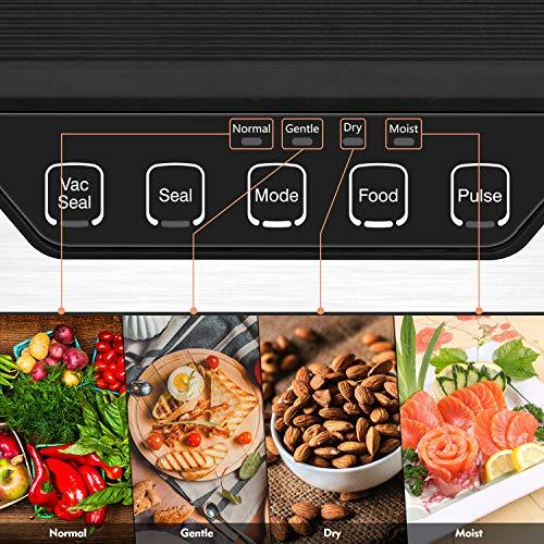 VPCOK Vacuum Sealer Machine Sous Vide Automatic Vacuum Sealer System Food Sealer Vacuum Packing Machine for Food Saver Fresh Preservation Dry Moist Mode w/10pcs Vacuum Sealing Bags BPA Free