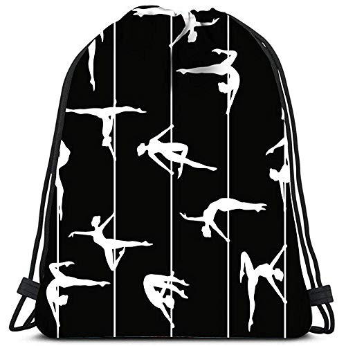 Dingjiakemao Turnbeutel Pole Tänzer Silhouette Yoga Runner Daypack Schuhbeutel