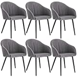 Lestarain 6er Set Esszimmerstühle, Küchenstuhl Polsterstuhl Sessel Aus Leinen Mit Armlehne Metallbeine, Stuhl Für Esszimmer Wohnzimmer, Grau