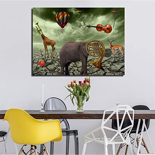 Frameloze schilderij Olifant herten trompet canvas foto voor woonkamer moderne dier woondecoratie art muur posterZGQ2558 50X70 cm