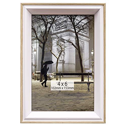 TERESA'S COLLECTIONS Marcos de Foto de Madera 13x18cm, Marco de Cuadros de Blanco, Decoración de Pared Colgar, Mesa y Hogar, Regalos para Boda, Cumpleaños, Graduación, Navidad (Vintage)