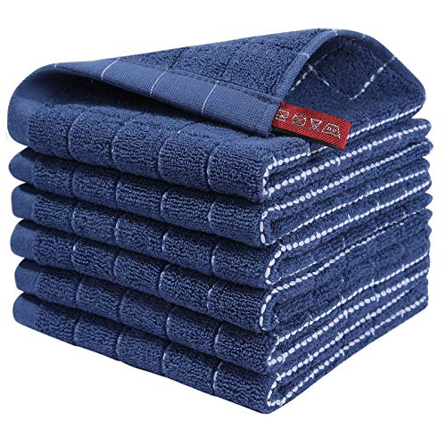 Homaxy 100 Cotton Terry Kitchen Dish Cloths Highly Absorbent Fast Drying and Machine Washable Dish Towel - Great for Household Cooking Cleaning 6 Pack 12 x 12 Inches Navy Blue
