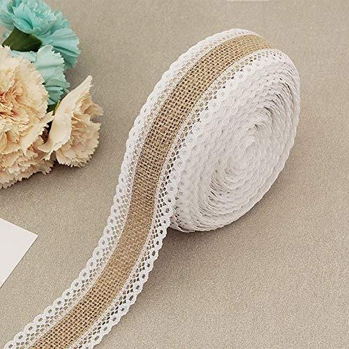 WQDWF Ribbons 2Meter/Lot 25mm Natural Jute Burlap Hessian Lace Ribbon with White Lace Trim Edge Rustic Vintage Wedding Centerpieces Decor,A01