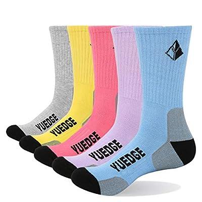 YUEDGE Women's Cotton Cushion Performance Athletic Sports Crew Socks (L)