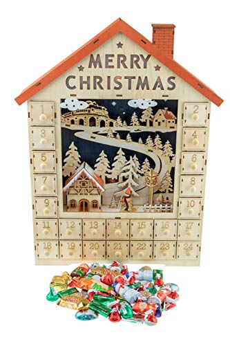 Count Down Reindeer Advent Calendar Blocks Premium Holiday D/écor Clever Creations Days Until Christmas  100/% Wood Build Perfect for Tables and Shelves Natural Brown Reindeer Color Measures 4.5 x 8.75