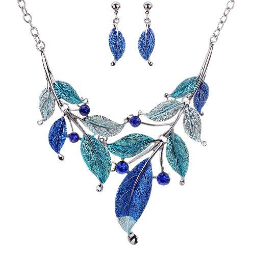 YAZILIND vendimiae Azul de Plata tibetana Pendientes de la Hoja de Cristal Branch Fornido Collar Babero de la joyería