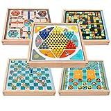 FEANG Juego de Mesa con Piezas de ajedrez, 5 en 1 Ludo de Madera y cheques Chinos, Juego de Juegos para Adultos y niños