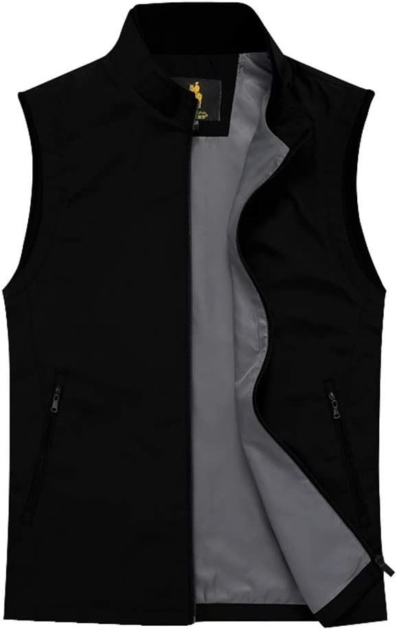 Yan qing shop Men's Work Vest Stand Collar, Business Thin Casual Vest for Man, Casual Loose Sleeveless Jacket with Zip Pocket (Color : Black, Size : S)