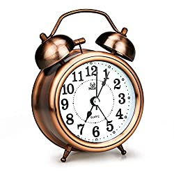 LINGSFIRE Alarm Clock for Bedroom, Silent Non Ticking Quartz Double Twin Bell Alarm Clock Battery Operated Loud Home Alarm Clock with Stereoscopic Dial Classic Desk Table Clock for Home Office (Gold)
