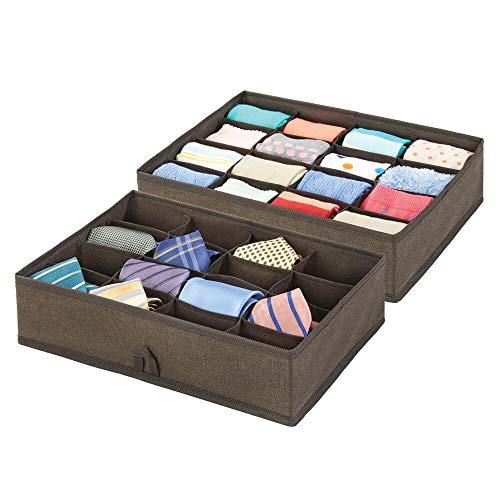 mDesign tyglåda för förvaring – förvaringslåda med 16 fack – lådavdelare för byrån – låda för skåporganisering och garderobsinredning – 2-pack – espressobrun