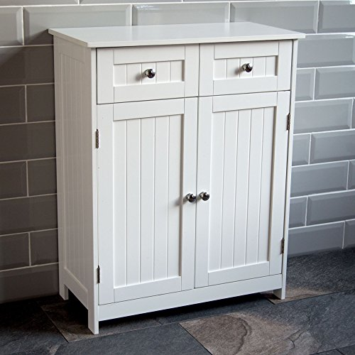 Bath Vida Priano 2 Drawer 2 Door Bathroom Cabinet Storage Cupboard Floor Standing Unit, White