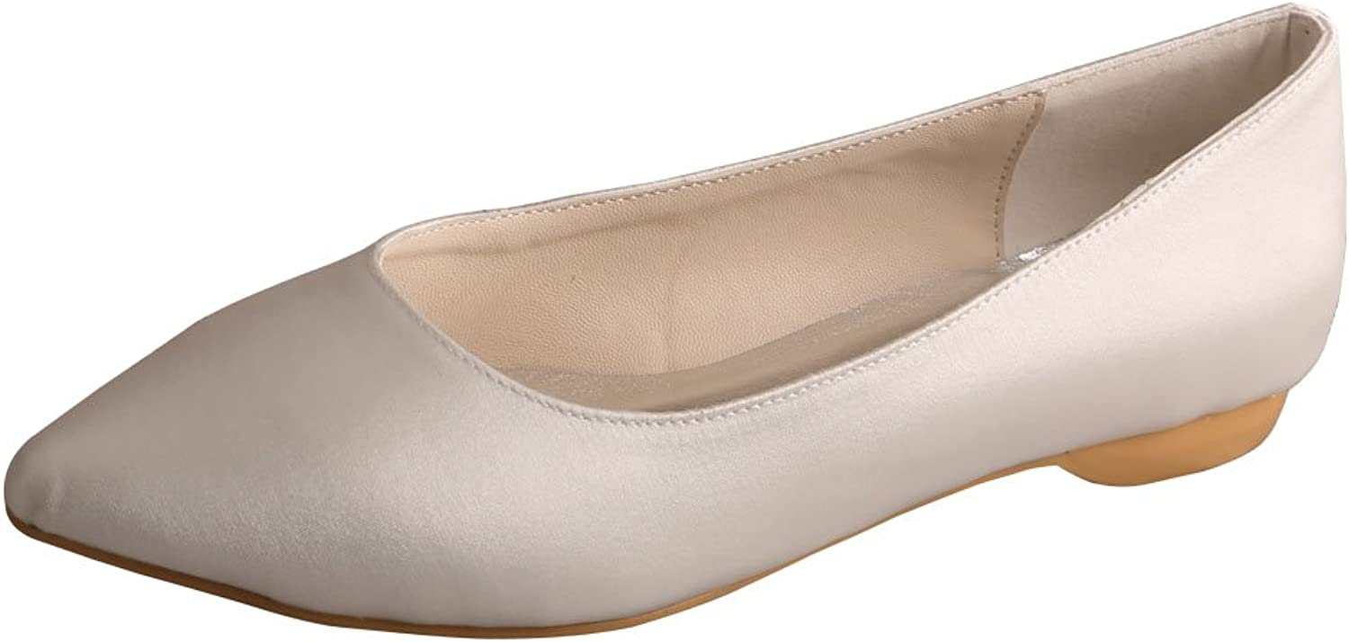 Wedopus MW480 Women's Pointy Toe Ballet Flat Satin Wedding shoes for Bride