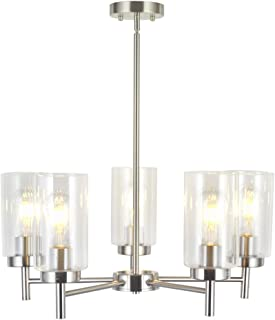 VINLUZ Contemporary 5 Light Large Chandeliers Modern Clear Glass Shades  Pendant Lighting Brushed Polished Nickel