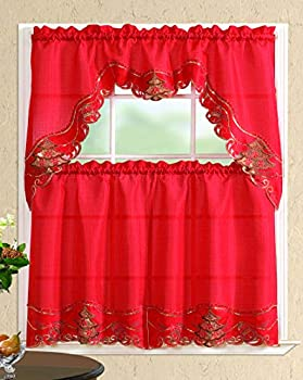 All American Collection New 3pc Christmas Holiday Design Embroidered Kitchen Curtain Set  Christmas Tree with Bells Red/Red