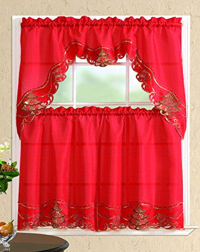 All American Collection New 3pc Christmas Holiday Design Embroidered Kitchen Curtain Set (Christmas Tree with Bells, Red/Red)