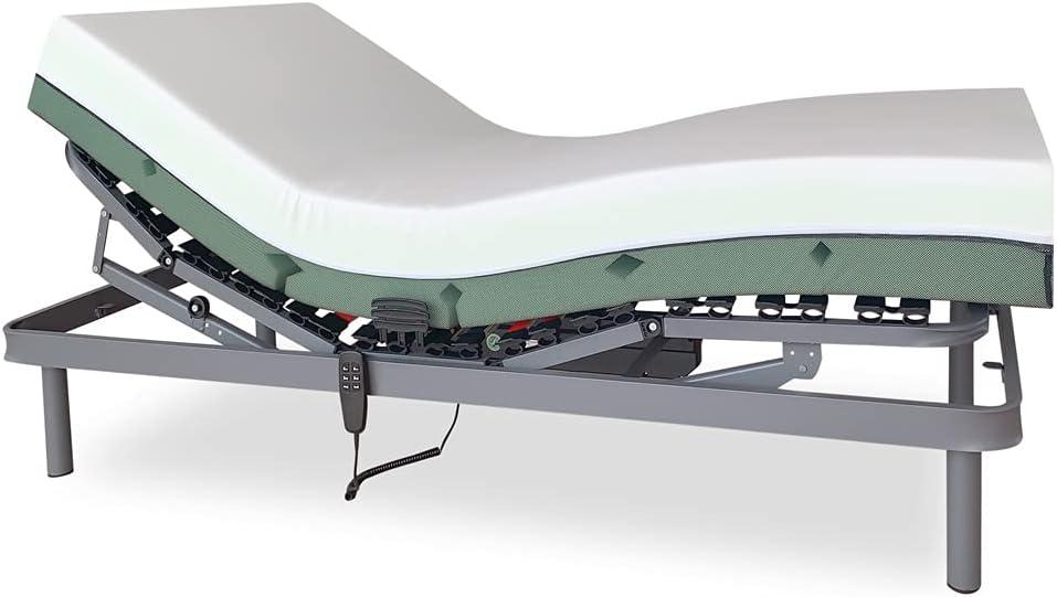 DUÉRMETE ONLINE Pack Cama Eléctrica Articulada Reforzada Ergomax + Colchón Viscoelástico Bio Medic, Gris Antracita, 80x180