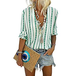 Women's Casual Stylish Striped V Neck Button Down Cuffed Sleeve Blouses Shirts Tops