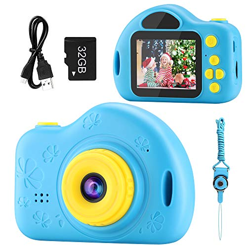 Kids Camera, Digital Video Camera Children Creative DIY Camcorder with Rechargeable Battery Birthday / Christmas / New Year Toy Gifts for 3 4 5 6 7 8 9 10 Year Old Boys with 32GB SD Card