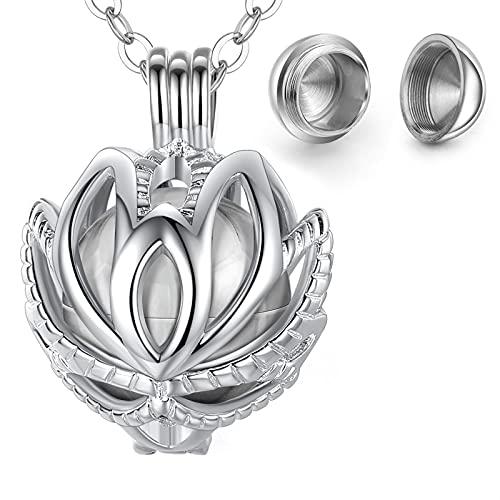 CELESTIA Mujer Collar Ceniza Urna, Plata Flor de Loto Medallón Colgante para Cenizas, Joyas Conmemorativas de Cremación, Perros Gato Recuerdo