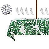 Tovaglia per tavolo da cortile,tovaglia da giardino con foro con 6 Tovaglia clips perfettamente per ombrelloni,robusta,impermeabile, lavabile.con la cerniera si può indossare e toglierlo facilmente.