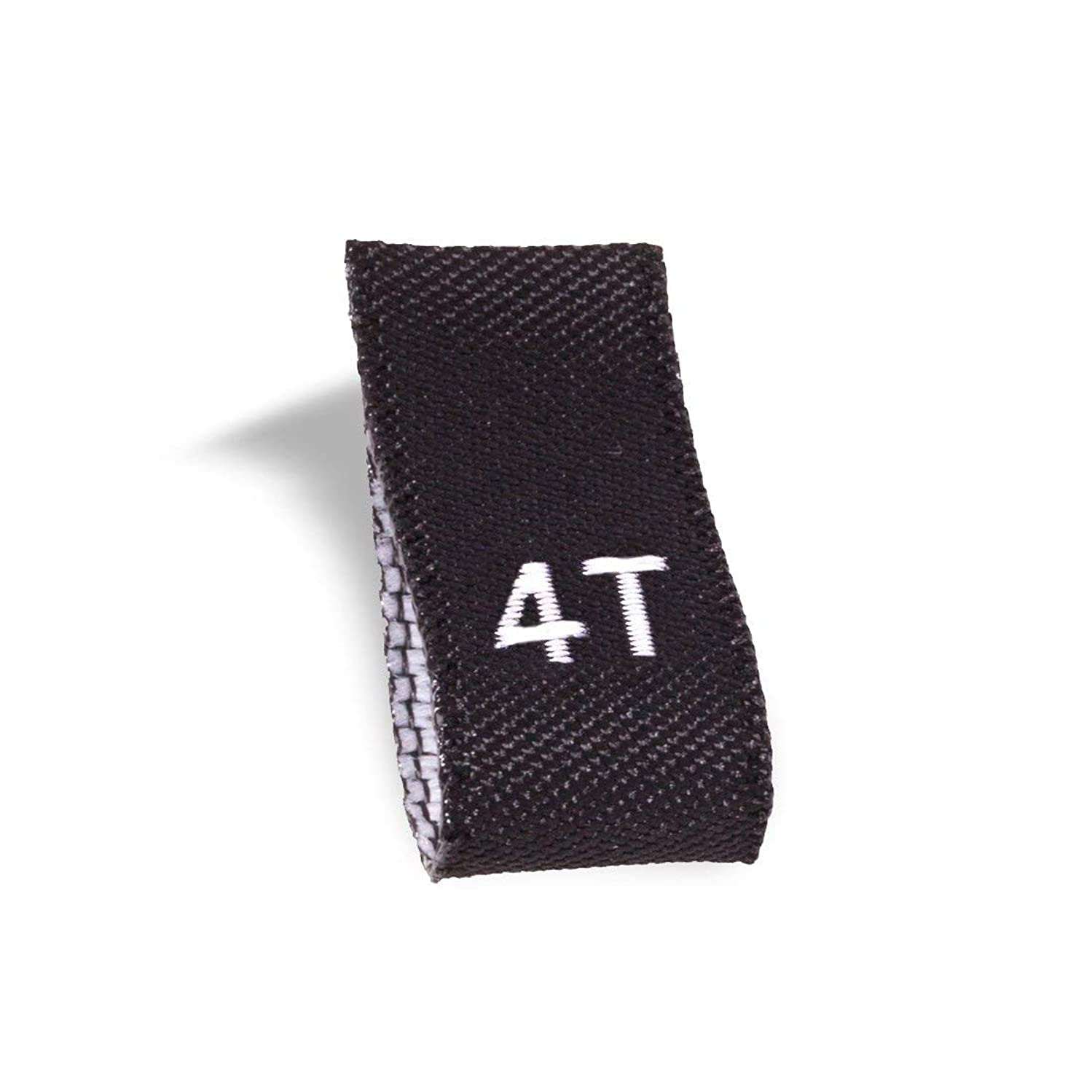 Wunderlabel Kid Size Label Woven Crafting Craft Art Fashion Ribbon Ribbons Tag for Clothing Sewing Sew on Clothes Garment Fabric Material Embroidered Label Labels Tags, White on Black, 4T, 100 Labels