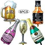 Comius Globos de Helio, 5 Pcs Globos de Papel de Aluminio, Inflado Gigante Globo de la Hoja para Decoración de la Fiesta de Bodas de Cumpleaños Vacaciones (Botella de Vino)
