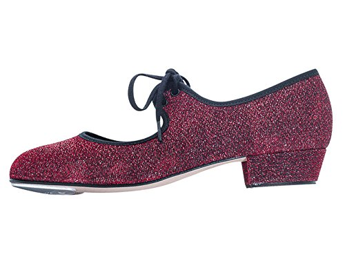Katz Dancewear Girls Ladies Red Glitter Low Heel Tap Dance Shoes with Toe Plates (Childs Size UK 9.5)