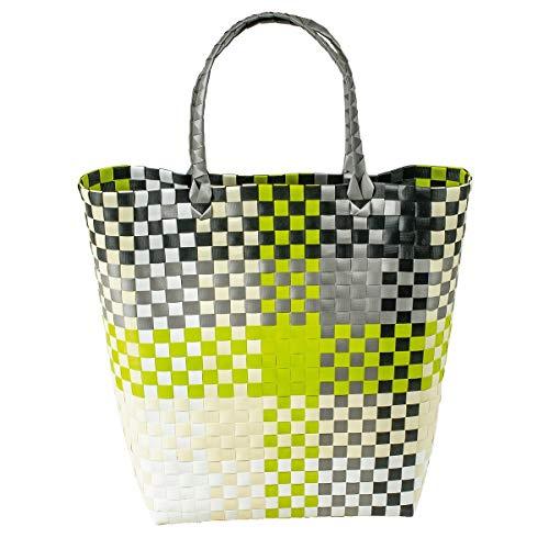 LaFiore24 Grosser Shopper Einkaufstasche Einkaufskorb Bade-Strandtasche abwaschbar 42x16 H.40/60cm Grau-Grün Mehrfarbig