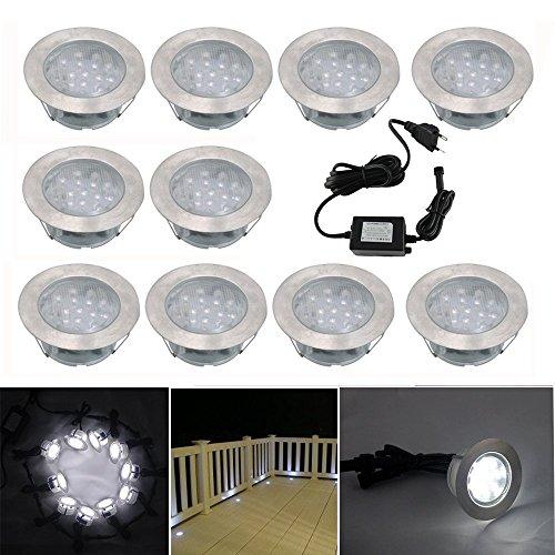 10 Spot Encastrable LED pour Terrasse,Mini Spot Encastré en DC12V IP67 Etanche Ø60mm Acier Inoxydable Exterieur luminaire,Eclairage pour Jardin,Couloir (Blanc Froid)