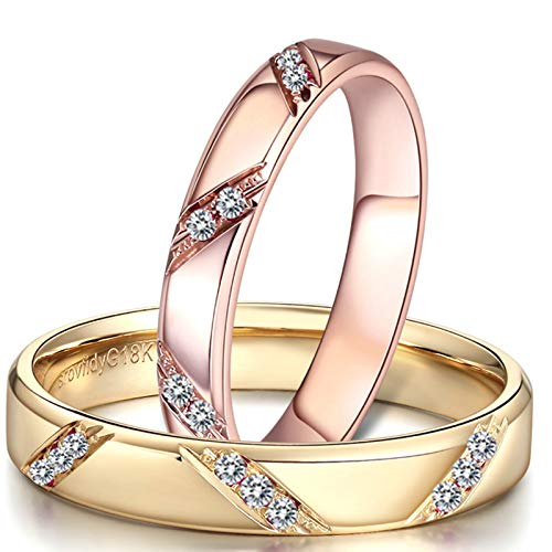 KnSam Anillo Oro de 18K, Redondo Forma Anillo de Confianza con Diamante Blanco 0.09ct, Mujer Talla 16 y Hombre Talla 25 (Precio por 2 Anillos)